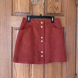Miss Selfridge Rust colored suede mini skirt